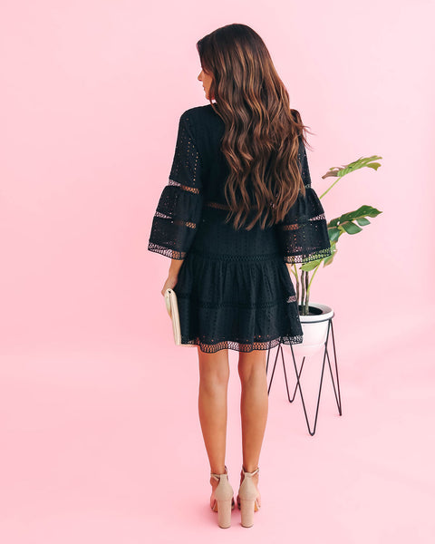 Mark The Moment Eyelet Bell Sleeve Dress - Black - FINAL SALE