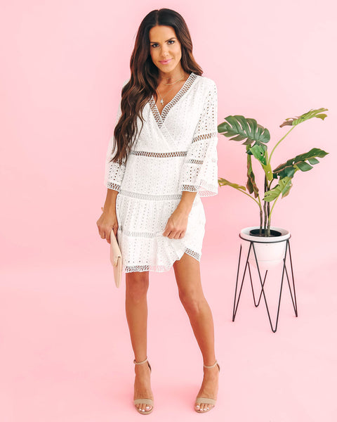 Mark The Moment Eyelet Bell Sleeve Dress - Off White