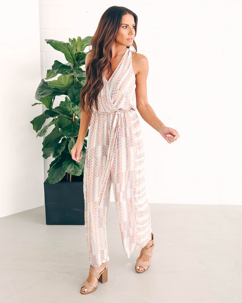 This Or That Pocketed Tie Jumpsuit