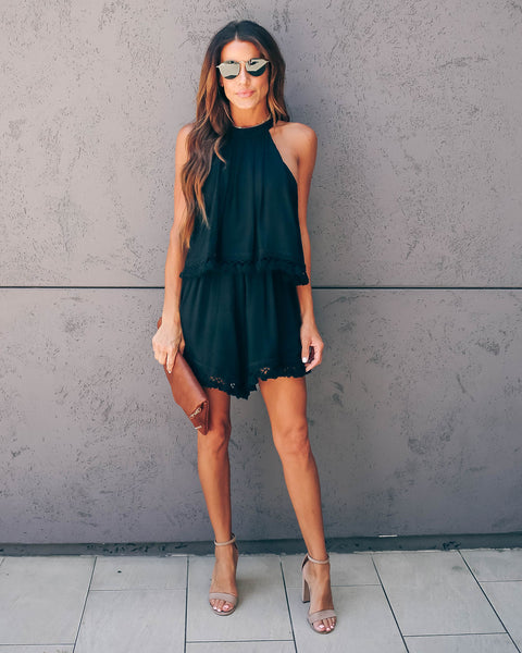 Larkspur Tassel Romper - Black - FINAL SALE