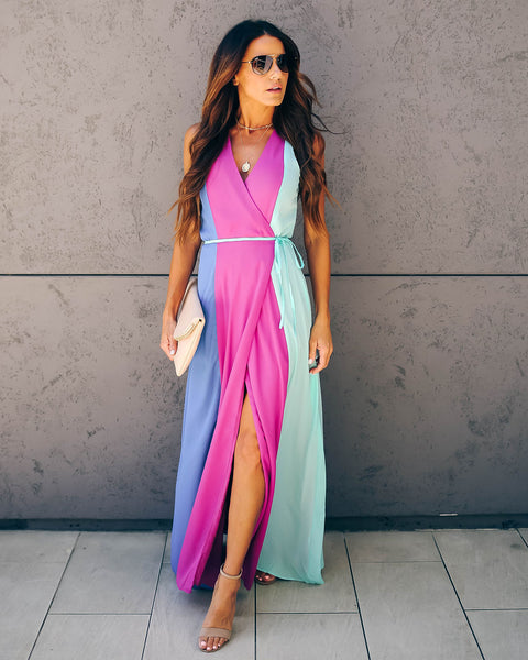 Corey Colorblock Wrap Maxi Dress - FINAL SALE