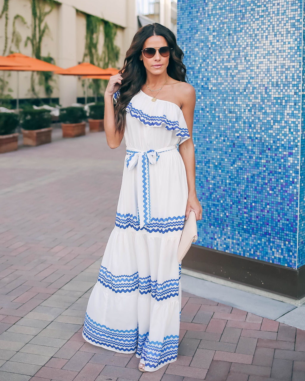 9ed40ca8f8fb Waves Upon The Shore One Shoulder Maxi Dress - Ivory/Blue - FINAL SALE –  VICI