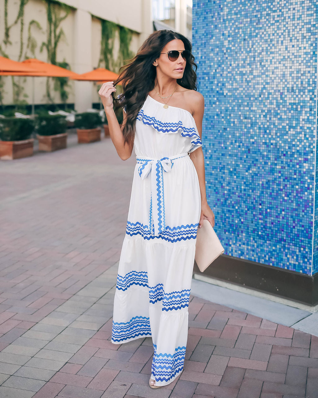 89db3919e793 Waves Upon The Shore One Shoulder Maxi Dress - Ivory/Blue - FINAL SALE