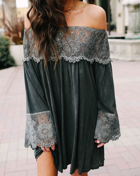 Lost City Lace Off The Shoulder Tunic - Black