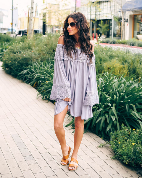 Lost City Lace Off The Shoulder Tunic - Misty Lilac