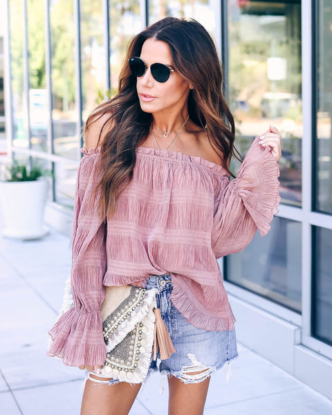 Afterglow Off The Shoulder Ruffle Blouse - FINAL SALE