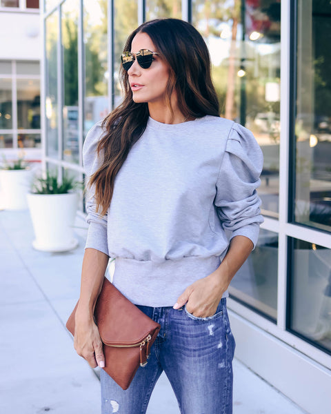 Fast Lane Puff Sleeve Pullover - Heather Grey