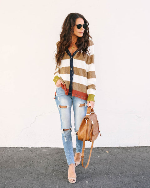 Jude Distressed Striped Knit Cardigan
