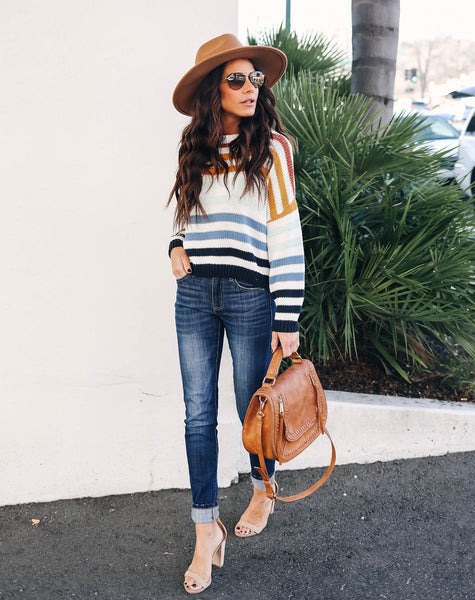 Retro Romance Cotton Striped Knit Sweater