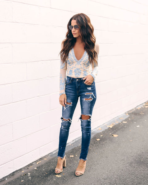 Iris Embroidered Lace Bodysuit