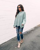 Cozy Cottage Knit Sweater - Sage