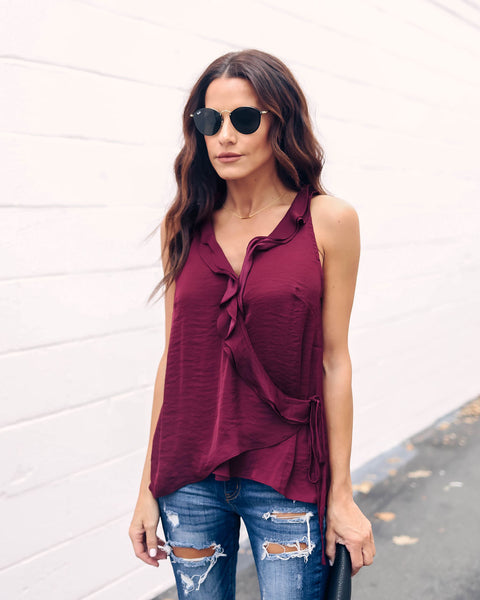 Reason For The Season Ruffle Wrap Tank - Mahogany