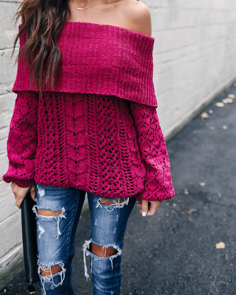 Kiss + Make Up Chenille Knit Sweater - Berry - FINAL SALE