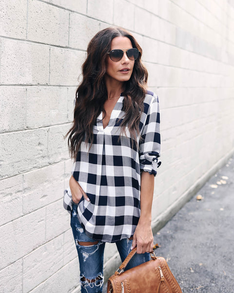 Check Please Plaid Tunic
