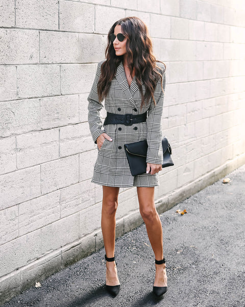 Piazza Pocketed Houndstooth Peacoat Dress