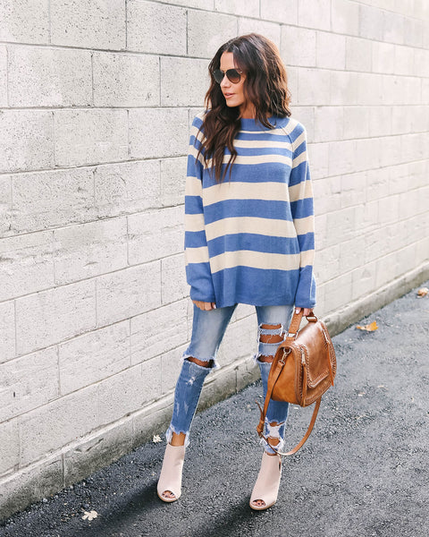 Mountain Village Striped Knit Sweater - Blue/Oatmeal