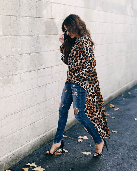 Larger Than Life Leopard High Low Statement Top