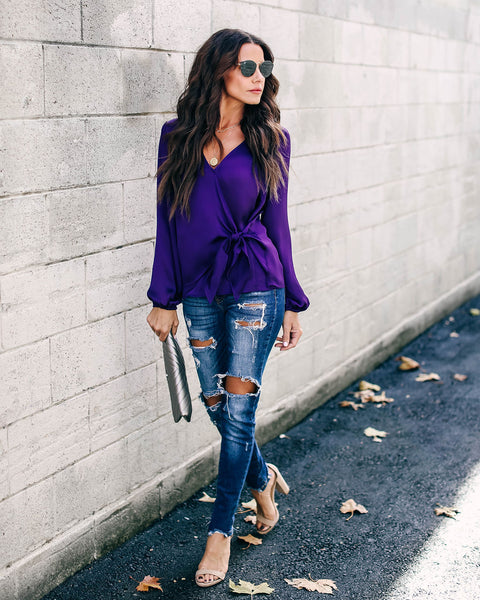 Violet Satin Wrap Blouse