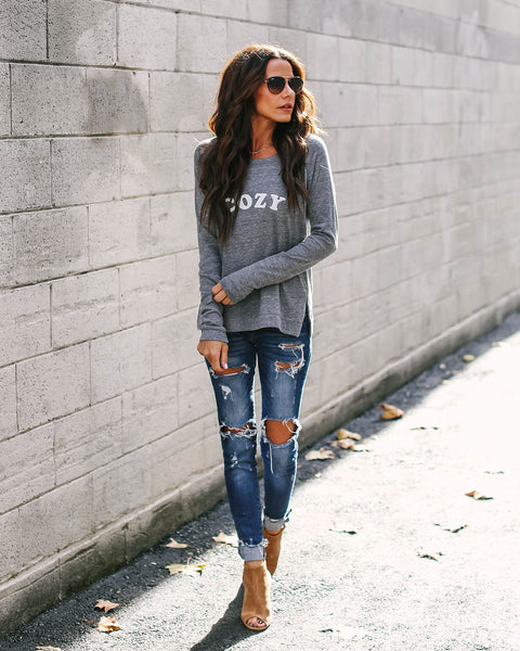 Cozy Cotton Blend Long Sleeve Top