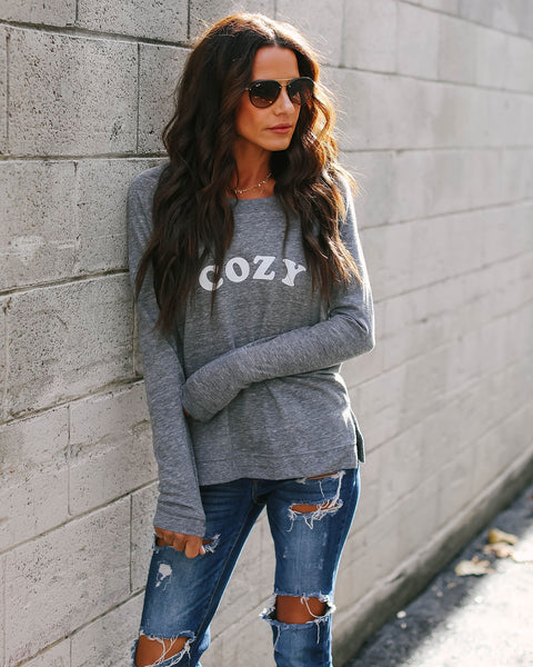 Cozy Cotton Blend Long Sleeve Top - FINAL SALE