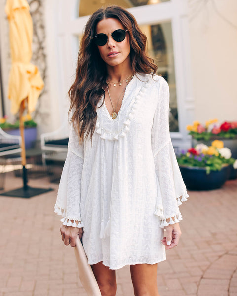 Stranded Embroidered Tassel Tunic - Off White - FINAL SALE