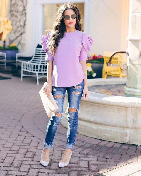 Piece Of Work Puff Sleeve Top - Lavender