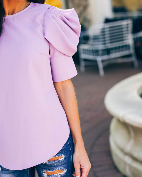 Piece Of Work Puff Sleeve Top - Lavender - FINAL SALE