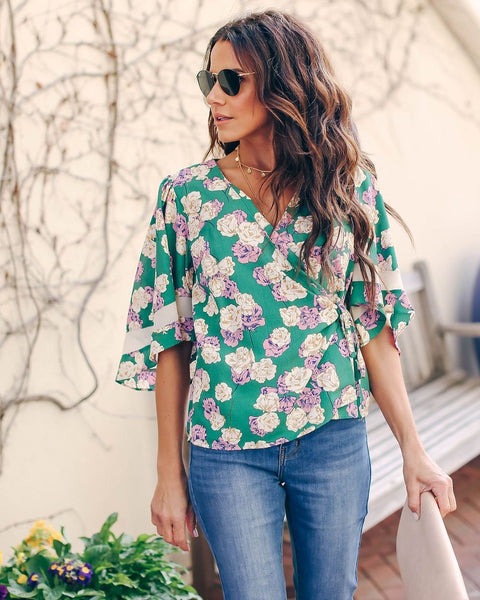 Greenery Floral Wrap Blouse