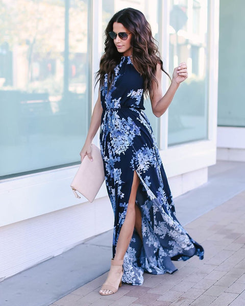 True Blue Floral Adjustable Halter Maxi Dress - Navy