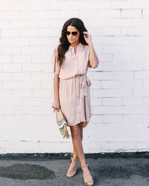 Powers That Be Button Down Shirt Dress - Champagne