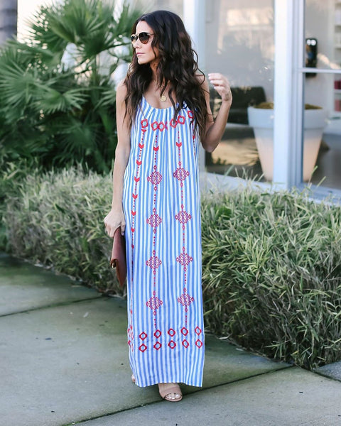 Ko Samui Striped Embroidered Maxi Dress