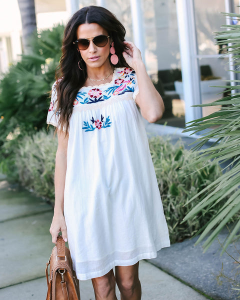 Bali Beauty Embroidered Cotton Shift Dress
