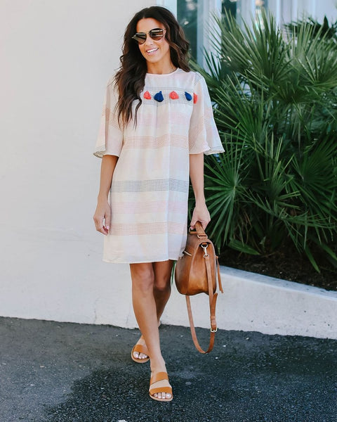 Sangria Cotton Tassel Shift Dress