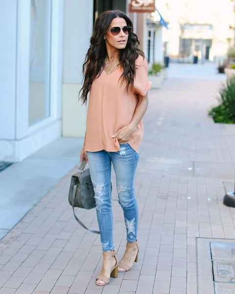 Go With The Flow V-Neck Blouse - Tawny Orange