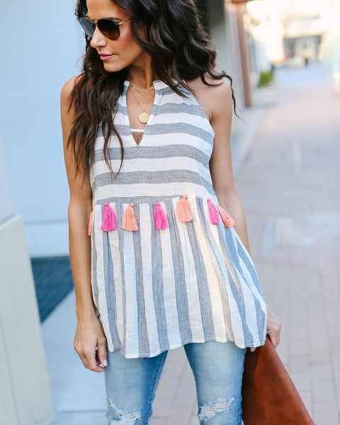 Beachy Keen Striped Cotton Tassel Tank