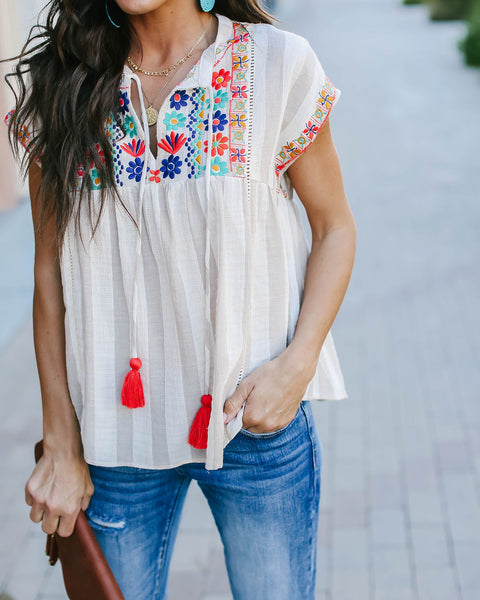Tenerife Cotton Embroidered Top
