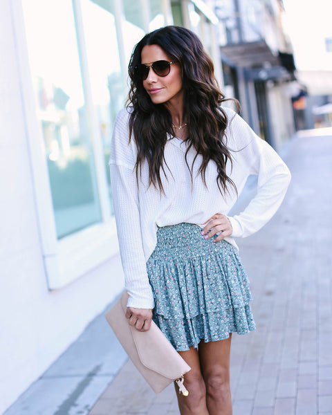 Minty Fresh Floral Smocked Mini Skirt