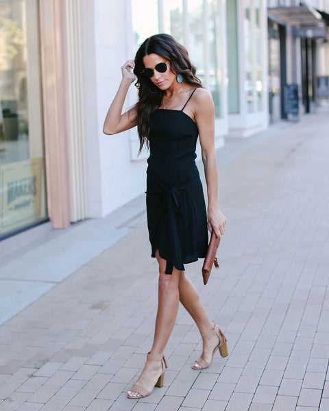 Keep On Dancing Wrap Dress - Black