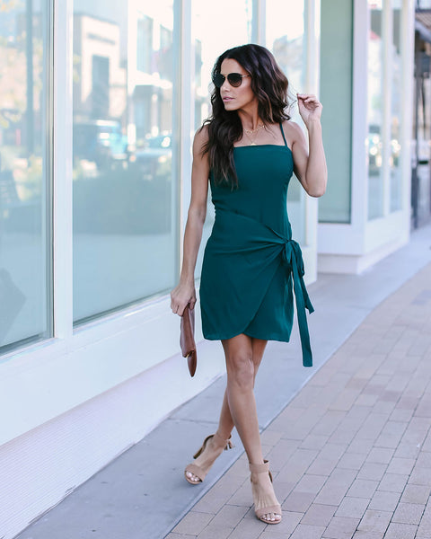 Keep On Dancing Wrap Dress - Dark Green