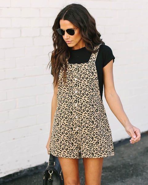 Wild Child Cotton Leopard Overall Shorts