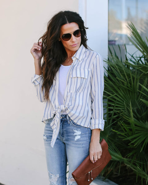 It's All Good Striped Cotton Tie Top - FINAL SALE
