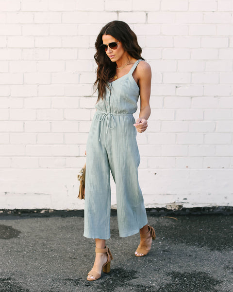 You're All I Sea Cotton Jumpsuit - Dusty Sage