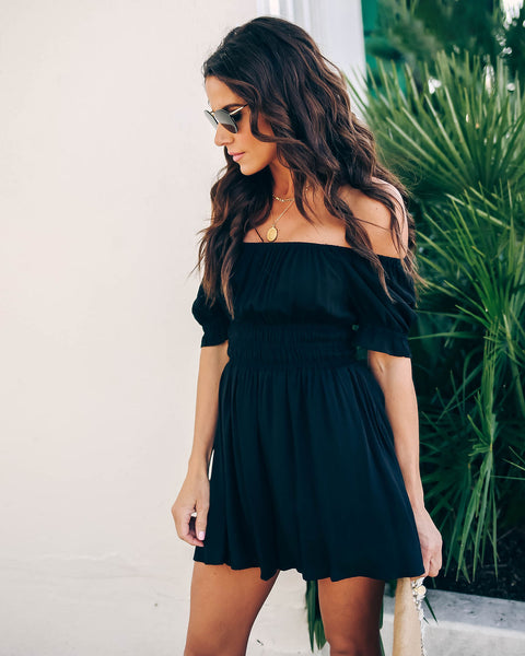 2052fe8673ab Dance In The Sun Cotton Off The Shoulder Romper - Black