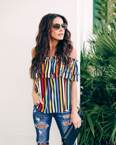 Rainbow Chaser Off The Shoulder Top