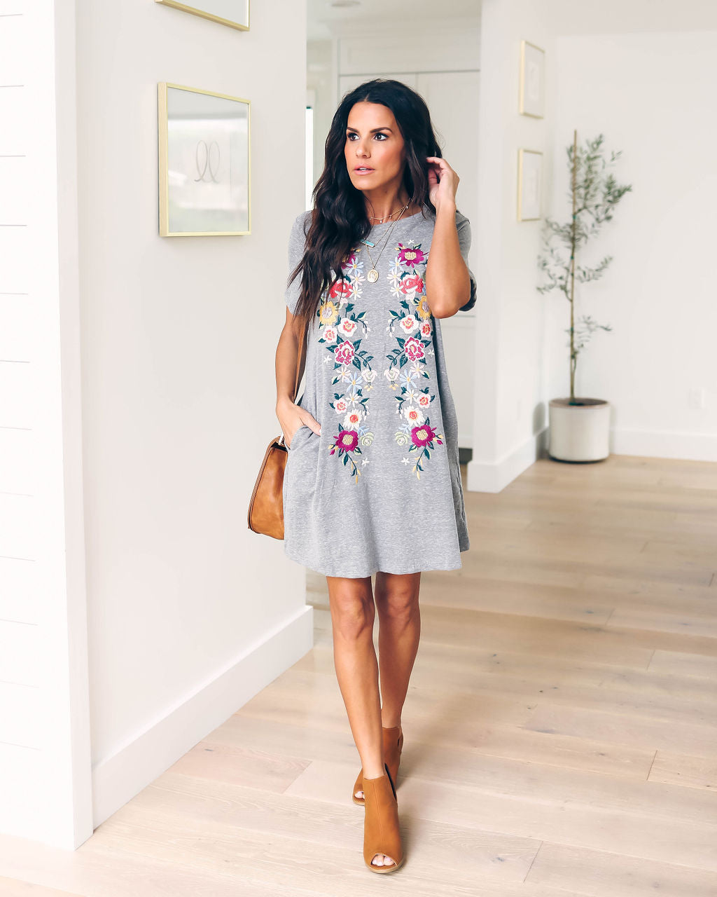 9846e3875aa Heirloom Embroidered Pocketed Shirt Dress - Grey – VICI
