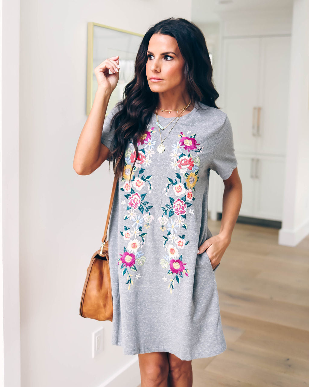 fc559ac69452 Heirloom Embroidered Pocketed Shirt Dress - Grey – VICI