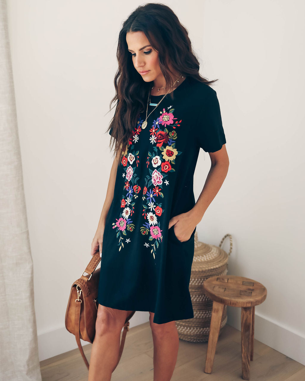 d228b861f461 Detail Product. FILTER ← Home - BOHO - Heirloom Embroidered Pocketed Shirt  Dress - Black