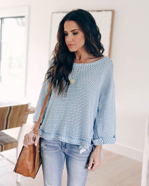 Carefree Cotton Blend Knit Top - Blue - FINAL SALE