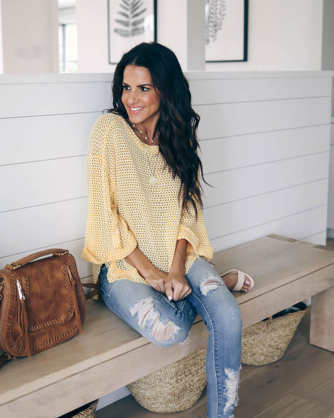 Carefree Cotton Blend Knit Top - Honey