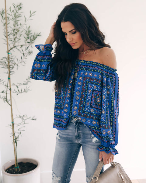 Calypso Printed Off The Shoulder Top - Blue - FINAL SALE